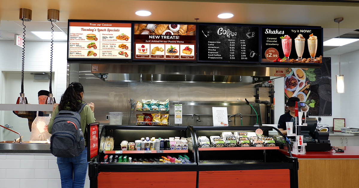 Save Time with Digital Cafeteria Menu Boards