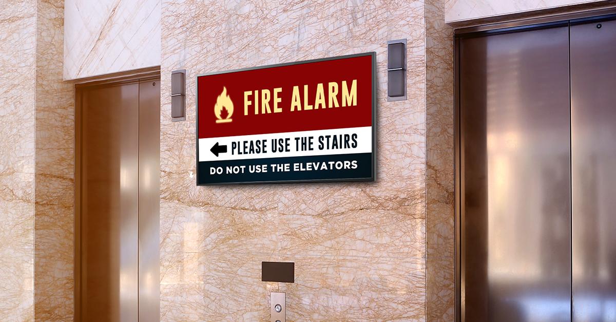 digital signage fire alarm