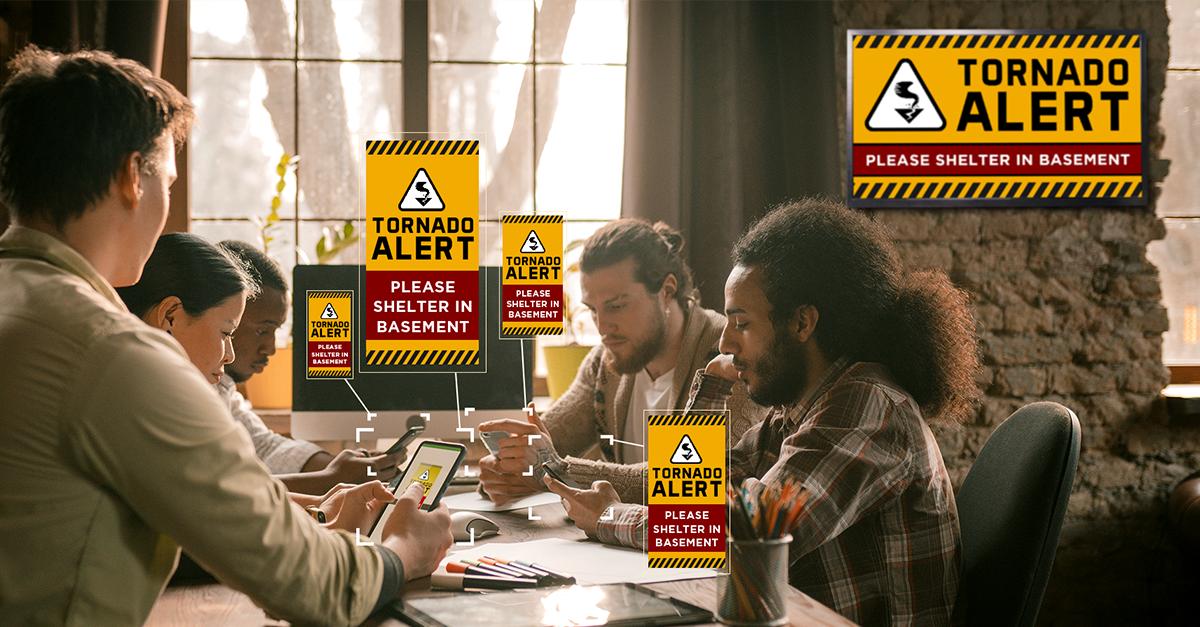 digital signage tornado alert