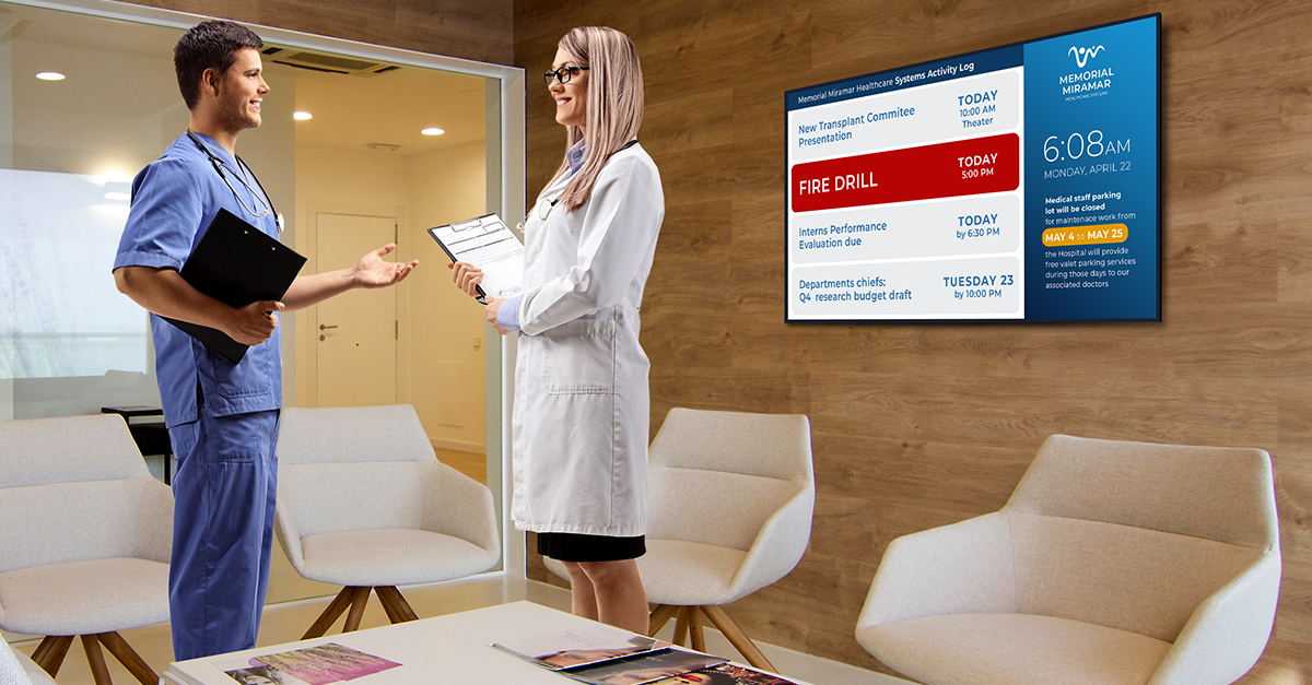 nurse and doctor lounge communication with digital signage