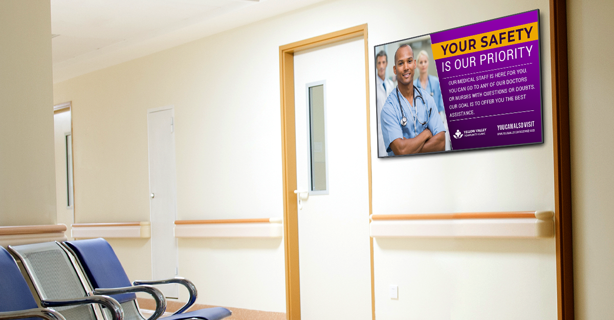 patient information communication with digital signage