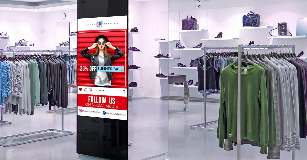 social media content digital signage retail